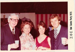 Hub Frink, 57, Helen Frink, my date and me at the Sigma Phi Epsilon Red Garter Party in November 1975