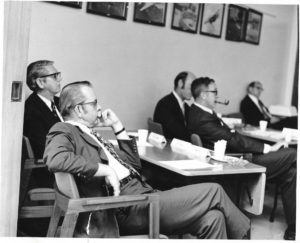 "Hub Frink, far left, possibly during an ""Agonizing Reappraisal"" circa 1969"